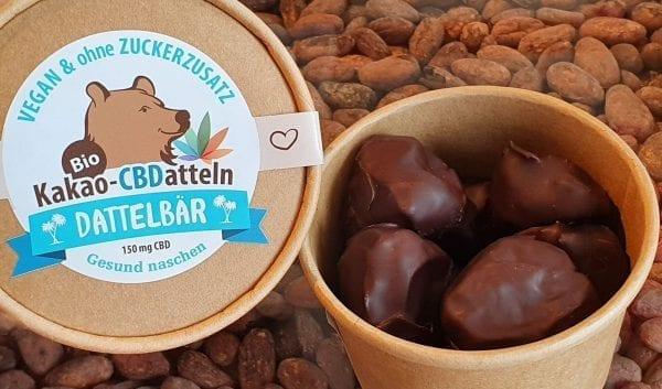 Offene Packung CBDatteln in Kooperation mit Dattelbär, Zotter und Magu CBD
